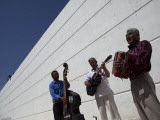 Volcanes Del Norte, a Band Formed by Inmates, Perform Next to Wall Inside Ciudad Juarez City Prison Photographic Print