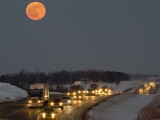 Blue Moon Rises over Interstate 80 West of Omaha, Nebraska Photographic Print