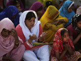 Christians Pray During a Ceremony to Celebrate Orthodox Palm Sunday, Outside a Church in Pakistan Photographic Print