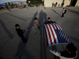 School Children Prepare to Raise the US and Texas Flags in Front of the Elementary School Photographic Print