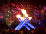 Fireworks after Gretzky Lit the Olympic Cauldron at the Opening Ceremonies of the 2010 Winter Games Photographic Print