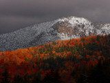 Sun Hits Fall Foliage Colors in the White Mountain National Forest in Twin Mountain, New Hampshire Photographic Print