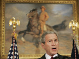 President Bush Delivers His Live Radio Address in the Roosevelt Room at the White House Photographic Print