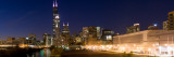 Buildings in a City Lit Up at Dusk, Chicago, Illinois, USA Photographic Print by  Panoramic Images