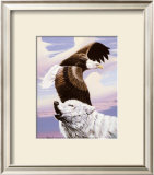 Eagle in Flight with Wolf Prints by Gary Ampel