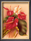 Red and White Anthuriums Posters by Frank Oda