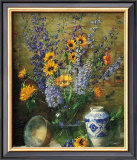 Delphiniums and Chinese Vase Prints by F. Janca