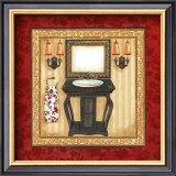 Red Demask Bath II Poster by Jo Moulton