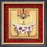 Red Demask Bath I Prints by Jo Moulton