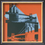 Brooklyn Bridge, c.1983 (black, red, blue) Posters by Andy Warhol