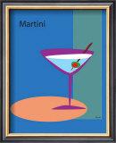 Martini in Blue Framed Giclee Print by  ATOM