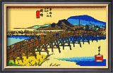 Yahagi Bridge with Okazaki Castle in Background Framed Giclee Print by Hiroshige II