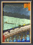 O-Hashi (Big Bridge) at Atake in Summer Shower Framed Giclee Print by Hiroshige II