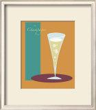 Champagne Flute in Orange Framed Giclee Print by  ATOM