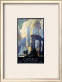 New York Central Lines, Chicago Framed Giclee Print by Leslie Ragan