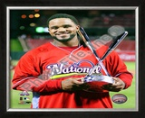 Prince Fielder with 2009 Home Run Derby Trophy Framed Photographic Print