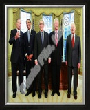 G.W. Bush w/President-elect Barack Obama &amp; Presidents Clinton, Carter, &amp; Bush Sr. in Oval Office. Framed Photographic Print