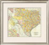 Railroad And County Map Of Texas, c.1882 Framed Giclee Print