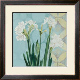 Paperwhites on Blue I Print by Katherine Lovell