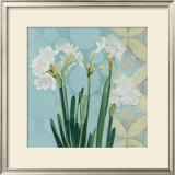 Paperwhites on Blue I Art by Katherine Lovell