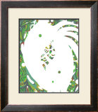 Color Melody: July Energetic Leaf and Fresh Green Light and the Dripping Framed Giclee Print by Kyo Nakayama