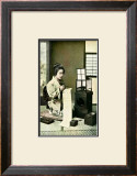 Japanese Geisha Writing Letter Framed Giclee Print