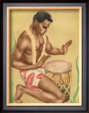 Kneeling Drummer Framed Giclee Print by  Gill
