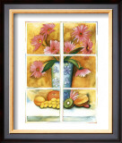 Pink Daisies at the Window Print by Sonia P.