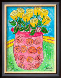 Vase of Yellow Roses Prints by Deborah Cavenaugh