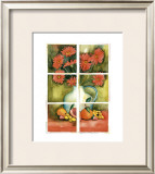 Red Daisies at the Window Print by Sonia P.
