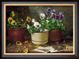 Pansies in Terra Cotta Prints by Del Gish