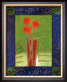 Orange Flowers on Green Prints by Hussey