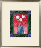 Pink Flowers on Red Posters by Hussey