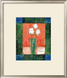 White Flowers on Orange Art by Hussey
