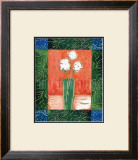 White Flowers on Orange Print by Hussey