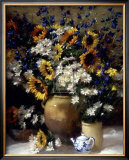 Sunflowers and Teapot Art by F. Janca