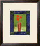 Orange Flowers on Green Print by Hussey