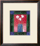 Pink Flowers on Red Prints by Hussey