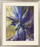 Delphiniums on a Window Sill Poster by Elizabeth Parsons