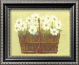 White Flowers in Wicker Basket Posters by Cuca Garcia
