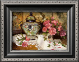 Roses with Temple Jar Prints by Francie Botke