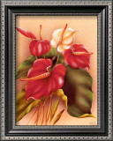 Red and White Anthuriums Prints by Frank Oda