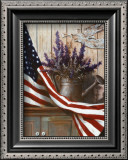 Flag with Purple Flowers Art by T. C. Chiu