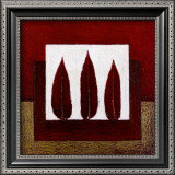 3 Red Feathers Prints by Pascale Nesson