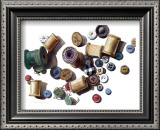 Wooden Spools and Old Buttons Art by Carolyn Watson