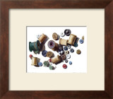 Wooden Spools and Old Buttons Print by Carolyn Watson