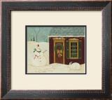 House with Snowman Art by Warren Kimble