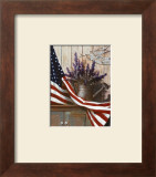 Flag with Purple Flowers Print by T. C. Chiu