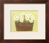 White Flowers in Wicker Basket Print by Cuca Garcia
