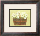 White Flowers in Wicker Basket Art by Cuca Garcia